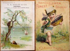 Perfume / Cologne PAIR 1890s Victorian Trade Cards - Color Litho