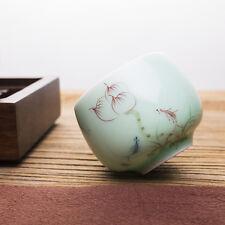 Chinese celadon tea set cup handpainted flower porcelain personal tea cup 90ml