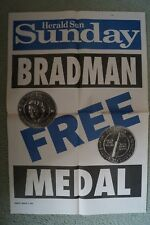 Cricket - Collectable - Original Herald Sun Sunday Poster - Don Bradman Medal