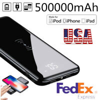 Qi Wireless Portable 500000mAh Power Bank External Backup Battery Charger 2 USB
