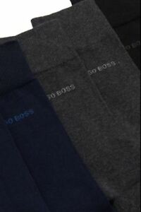 Hugo Boss Design Crew men dress Cotton Socks Grey,Navy color size 7-9. 10 pairs