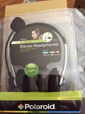 Polaroid pbm2200 PC  Gaming Stereo Headphones W/ Microphone Game VoIP Skype New