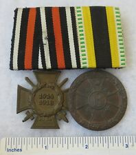 GERMAN WW1 2 MEDAL PARADE BAR HINDENBURG CROSS, 1917 SACHSEN MEININGEN VERDIENST