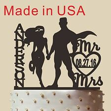 Personalized Superman Wonder woman Cake Topper,Wedding Gift,Made in USA 5''