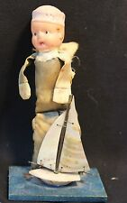 Vintage Sailor boy with Sail Boat Doll - Plastic head, cloth body