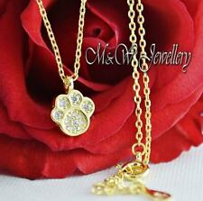 925 Sterling Silver Gold Plated Chain Necklace Pendant -DOG/CAT PAW -Zirconia