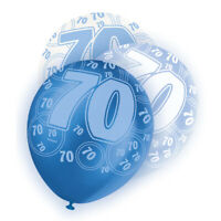 6 Assorted Blue Glitz 70th Birthday Party Decoration Printed Latex Balloons