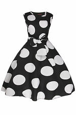 Ladies 1950's Retro Vintage Rockabilly Pin Up Swing Prom Big Polka Dot Tea Dress