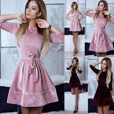 Women Fashion Velvet Party Cocktail Mini Dress Ladies Long Sleeve Skater Dresses