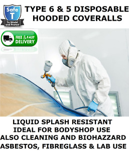 DISPOSABLE COVERALL HOODED (TYPE 6 & 5 SAME AS TYVEK) SPRAY SUIT,PAINT BODY SHOP