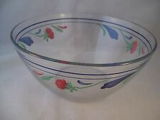Lenox Poppies on Blue Large Glass All Purpose Bowl Mixing Serving Salad France B