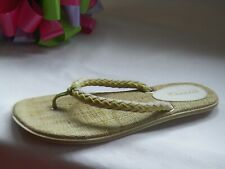 Sperry Top-Sider Sandal t-strap Braided thong flip flop sz 8M Natural/Green flat