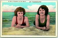 Postcard Yarmouth Nova Scotia Pair of Queens on the Beach Unposted c1920s