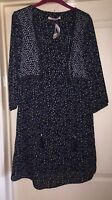 BNWT George Black Ditsy Boho Dress, Size 10 - Lovely!