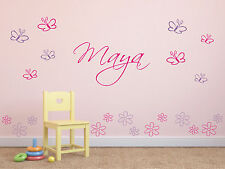 Wandtattoo ♥ Schmetterlinge & Blumen ♥ Wunschnamen ♥ Kinderzimmer ♥ 2-farbig