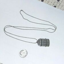 Vintage Necklace - Bird Cage Pendant On Silver Tone Dainty Ball Chain
