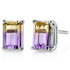 1.88 ct Emerald Cut Ametrine Stud Earrings in 14K White Gold