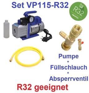 Set: Vakuumpumpe 42L/min auch für R32 Klimaanlage + Füllschlauch + Absperrventil