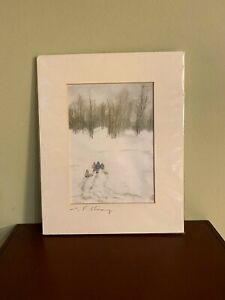 C. F. Chiang Original Signed Painting of Children Sledding - Free Shipping!