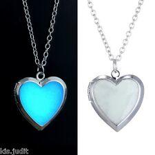 Collana con ciondolo cuore portafoto si illumina al buio - Argento