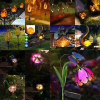 Outdoor LED Solar Flame Flower Stake Lights Garden Yard Lawn Walkway Decor Light