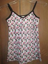 NEW* ROXY SZ S Sleep SHIRT CAMI TOP White Pink Heart Logo