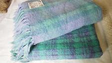 2 vintage mohair Couvertures Laine Tartan Écossais Irlandais Violet Vert Donegal Design