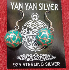 Sterling Silver 925 Earrings Funky Balls, for Luck, Health Wealth and Happiness