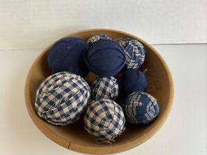 Set of 9 Farmhouse RAG BALLS Primitive Blue Homespun Bowl Fillers Ornies Tucks