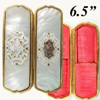 Antique French Cigar or Spectacles Case, Mother of Pearl, c1850-70, Napoleon III