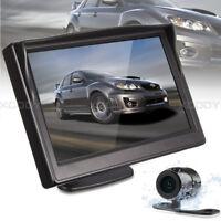 "5"" Backup Monitor+170°Car Rear View Reverse Parking Camera Night Vision Safety"