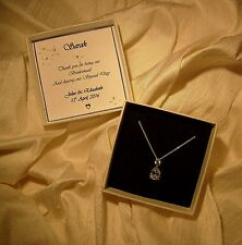 Gift for Bridesmaid sterling silver pendant CZ personalized box necklace 925