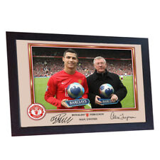 Cristiano Ronaldo Juventus Alex Ferguson Manchester United Firmado Foto Enmarcada