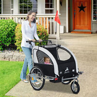 Aosom 3in1 Double Child Baby Bike Bicycle Trailer Stroller Jogger - Black/White
