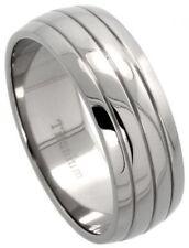 Men's Comfort Fit Size 11 Titanium Wedding Band 8mm Dome Groove Design C17