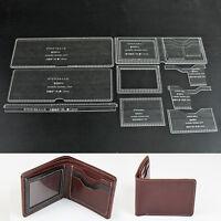 WUTA Acrylic Short Wallet Pattern Stencil Template Set Leather Craft DIY Tool