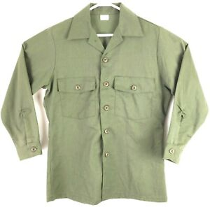 VTG Men's Green Military Army 60s-70s Collared Button Up Shirt Sz L