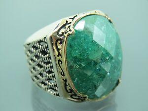 Turkish Handmade Jewelry 925 Sterling Silver Green Zircon Stone Men Ring Sz 9