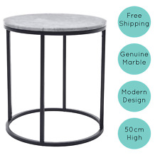 Genuine Marble Side Table, bedside table or coffee table with metal frame