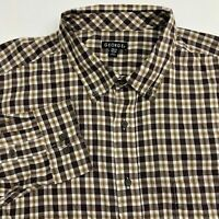 George Button Up Shirt Mens 2XL XXL Brown White Long Sleeve Cotton Blend Check