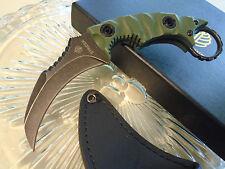 "Strider Combat Karambit Dagger Knife 5mm Full Tang Stonewash D2 OD G10 7.1"" OA"