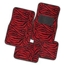 WILD ZEBRA 4-Piece Car Mat - RED