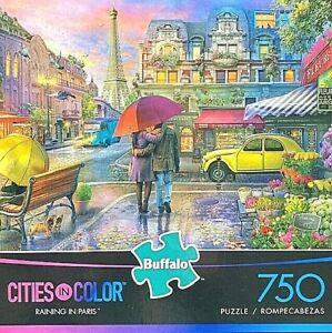 """BF """"Raining in Paris"""" Cities of Color Series 750pc Puzzle 24x18 Tower Walking"""