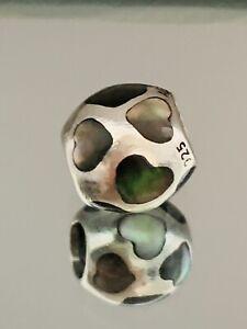 Genuine Pandora Bracelet Charm - Black Mother of Pearl Hearts 790398MPB  #2/10
