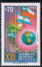 CHILE 1991 STAMP # 1511 MNH FLAGS OEA
