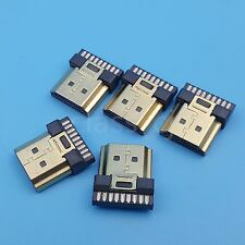 5Pcs HDMI Male Gold Plate 19Pin Plug Wire Solder DIY Connector