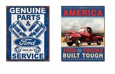 Two Built Ford Tough Truck Signs Garage, Den, Man Cave, Office, Great Gift Idea!