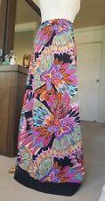 BILLABONG maxi skirt floral blue pink black feathers crochet hem stretch size 10
