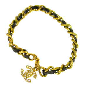 CHANEL Vintage CC Logos Bracelet Rhinestone Gold Chain 95P Authentic S07655e
