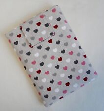 Handmade iPad mini & Kindle Fire case/cover/pouch. Cotton fabric with hearts.